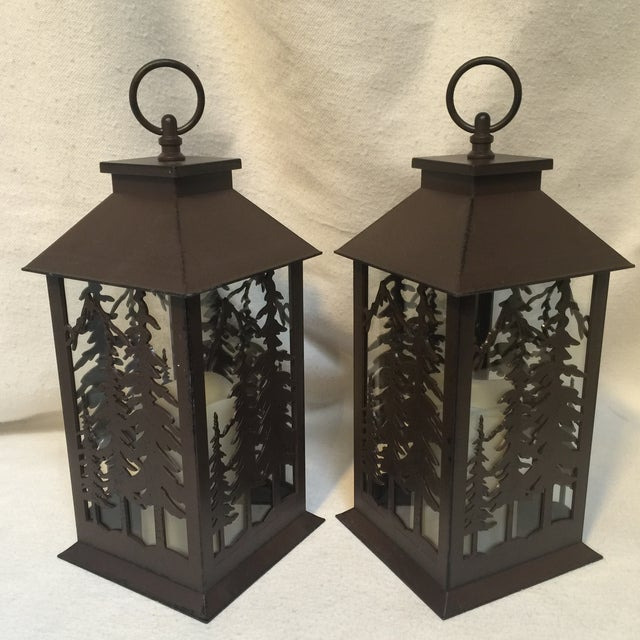 Metal & Glass Forest Silhouette Lanterns - A Pair - Image 9 of 10