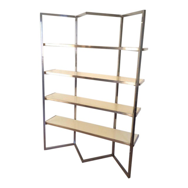 Chrome and Egg Shell Lacquered Etagere - Image 1 of 11
