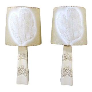 1940s Mid-Century Modern b.a.l.c. Cream Ceramic Table Lamps - a Pair