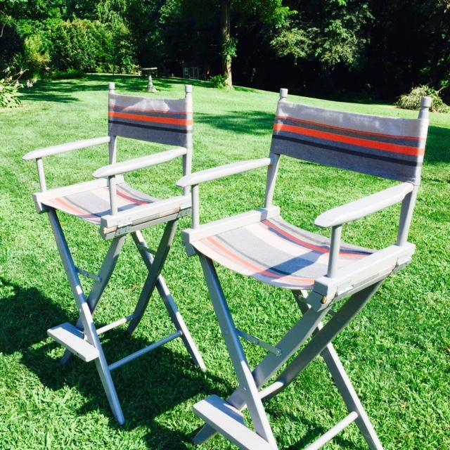Gray and Orange Striped Director's Chairs - A Pair - Image 7 of 10