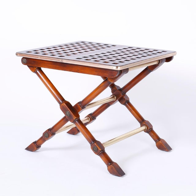 Yacht Style Folding Tables - A Pair For Sale - Image 4 of 10