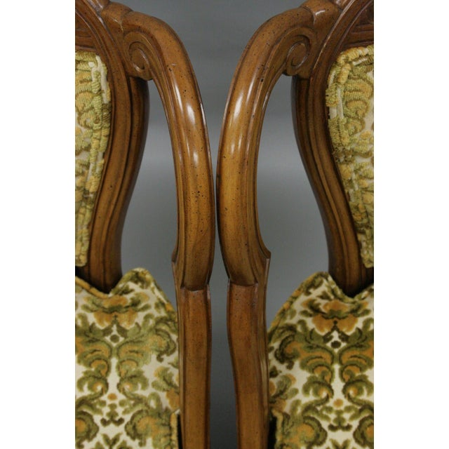 Pair of Vintage Hollywood Regency French Style Squiggle Loop Back Living Room Chairs For Sale - Image 9 of 11
