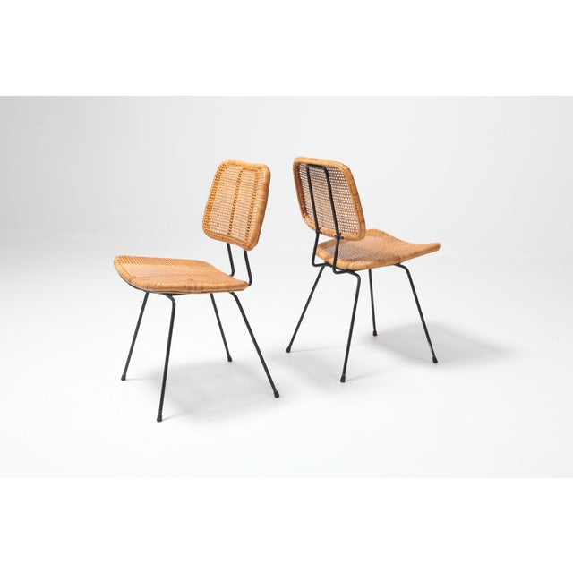 1960s Cane and Black Metal Tropical Dining Chair From the 50s For Sale - Image 5 of 10