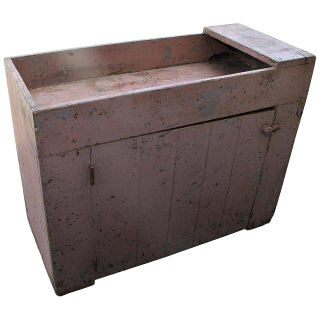 19th Century Dry Sink in Original Dusty Rose Paint For Sale