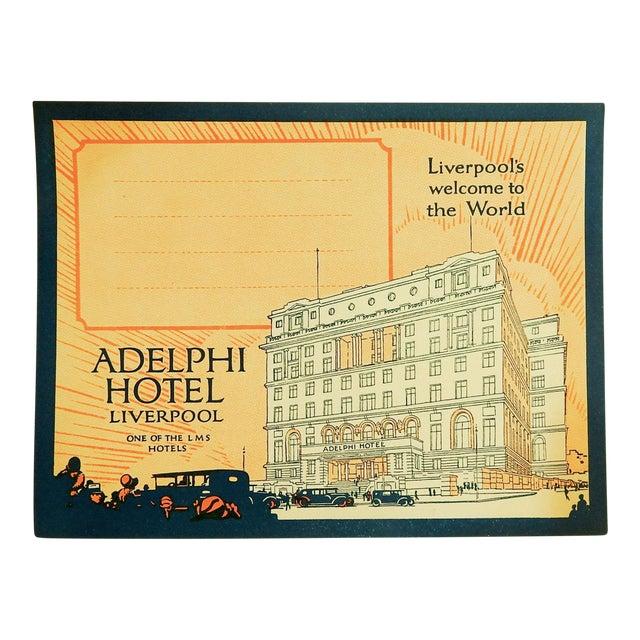 Vintage Luggage Label, Adelphi Hotel Liverpool England For Sale