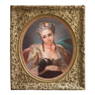 'Young Lady With a Spaniel', Louis XV Rococo Style French School Pastel, Circa 1870 For Sale