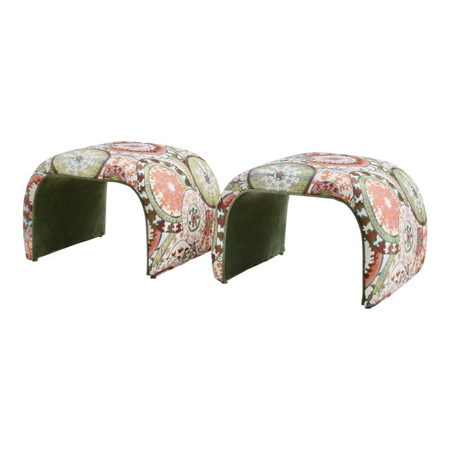 1970's Milo Baughman for Directional Waterfall Benches - a Pair For Sale