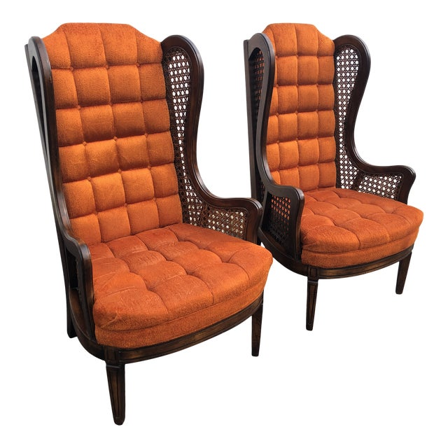 1970s Hollywood Regency Orange Velvet Canes Wingback Chairs - a Pair For Sale