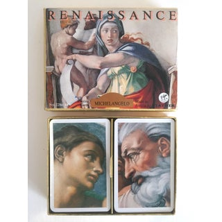 """Vintage Mid-Century"""" Michelangelo """" Lithograph Playing Cards Double Deck Boxed Set Preview"""