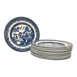 Set of 12 Churchill Blue Willow Dinner Plates For Sale