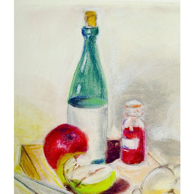 Colorful pastel still life of a bottle of wine and apples. Unsigned, unframed.