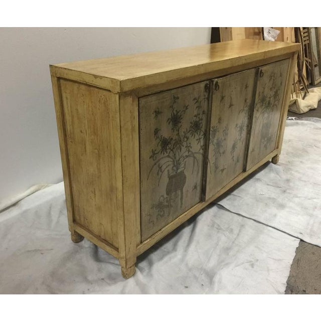 1970s 1970s Asian Style Credenza With Floral Motif Hand-Painted Door Panels For Sale - Image 5 of 11