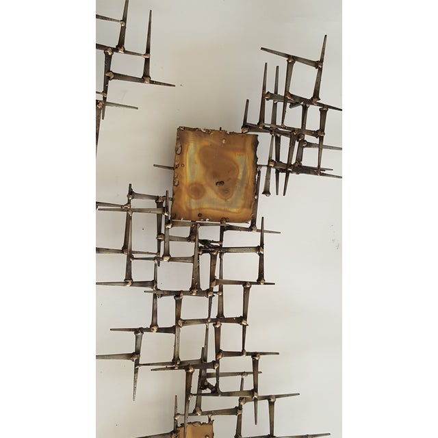 Abstract Brutalist Metal Wall Sculpture of Bronze and Brass - Image 3 of 8