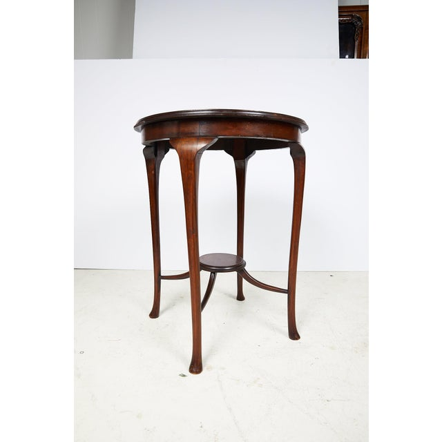 English Art Nouveau Round Tea Table of Mahogany For Sale - Image 9 of 13