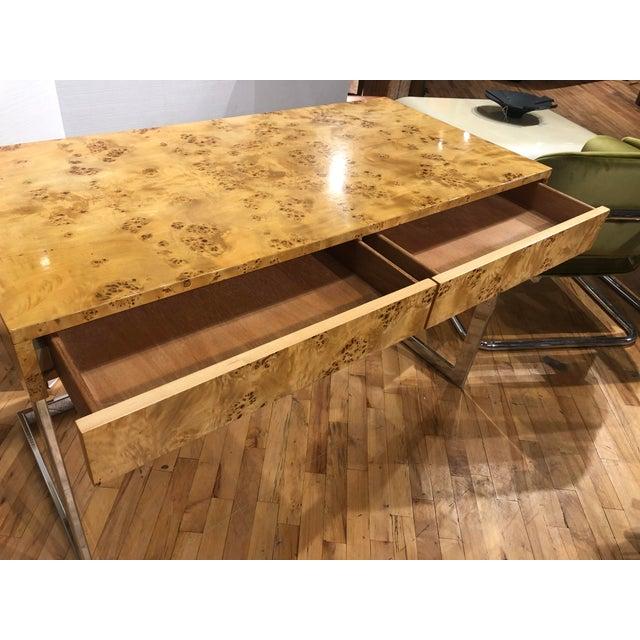 1960s Mid-Century Burlwood Desk by Milo Baughman For Sale - Image 5 of 6