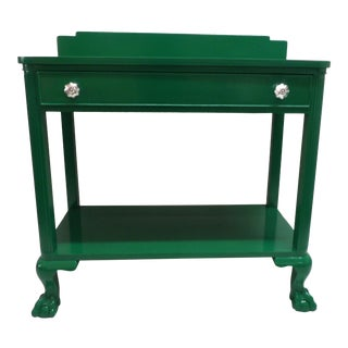 Antique Green Lacquer Wood Console Table For Sale