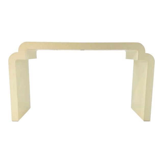 Asian Modern Style Celerie Kemble for Henredon Ellsworth Cream Wood Console Table For Sale