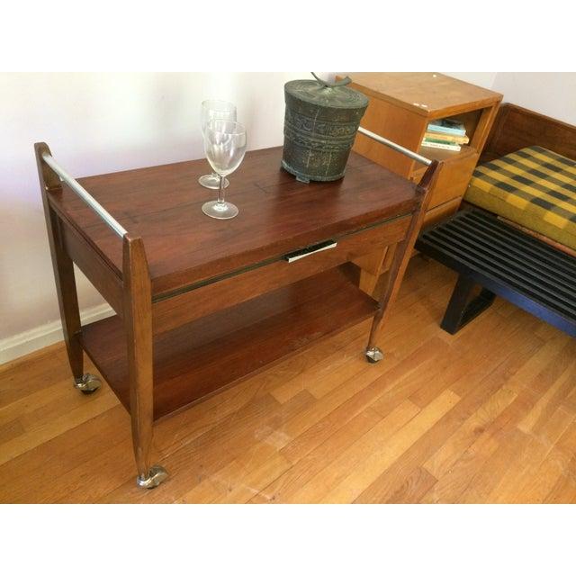Brown Mid-Century Modern American Lane Altavista Bowtie Bar Cart For Sale - Image 8 of 10