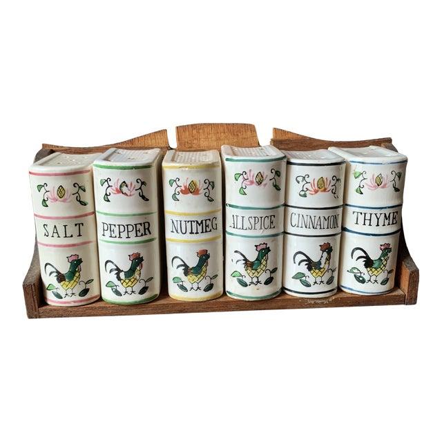Vintage Japan Ceramic Books on Bookshelf Spice Rack - 7 Pieces - Set of 7 For Sale