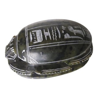 Vintage Egyptian Granite Hand-Carved Scarab With Heiroglyphs For Sale