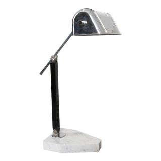 20th Century French Marble and Chrome Desk Lamp For Sale