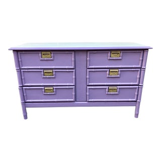 1970s Orchid Faux Bamboo 6 Drawer Dresser For Sale