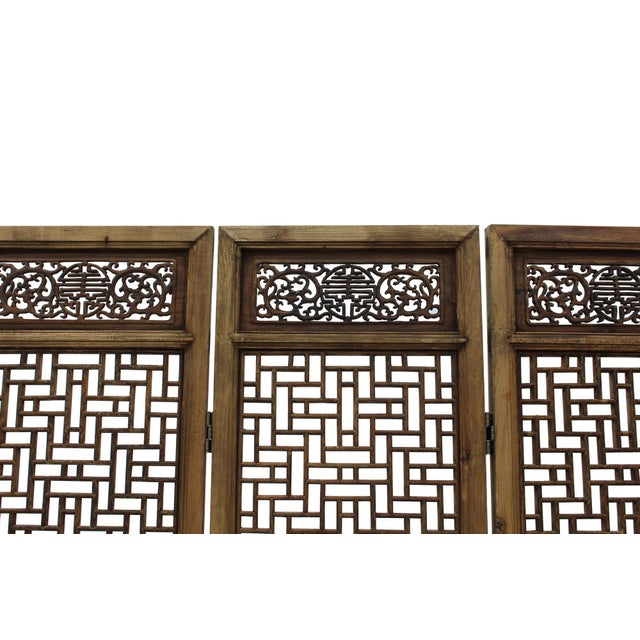 Asian Chinese Vintage Finish Geometric Pattern Wood Panel Screen For Sale - Image 3 of 10