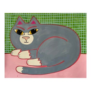 Contemporary Painting, Gray Cat For Sale