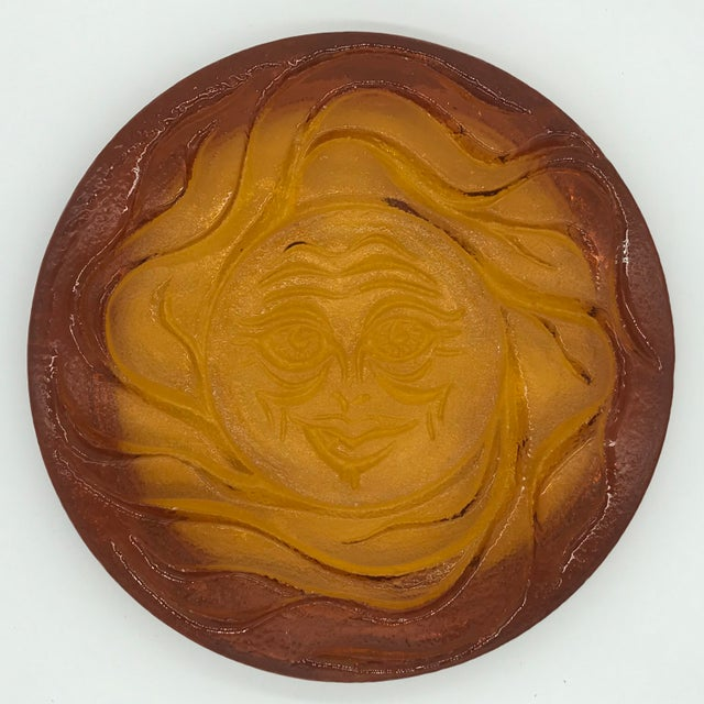 1970s 1970s Blenko Thick Amber Glass Round Sun Tray For Sale - Image 5 of 10