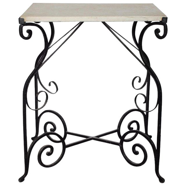 Early 20th Century Antique French Wrought Iron and Marble Table For Sale