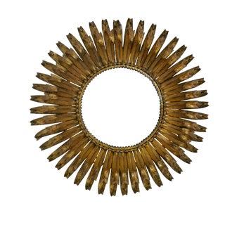 Gilt Tole Sunburst Convex Mirror, Italian Mid 20th Century For Sale