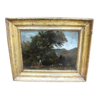 Framed French Landscape Oil Painting on Board For Sale