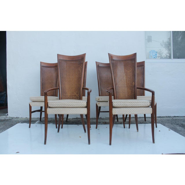 Robsjohn Gibbins Style Teak Cane Tall Back Dining Chairs Set of 6 For Sale - Image 4 of 11