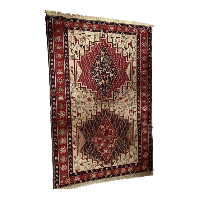 Late 19th Century Antique Silk Sumac Persian Rug - 3′3″ × 4′9″ For Sale
