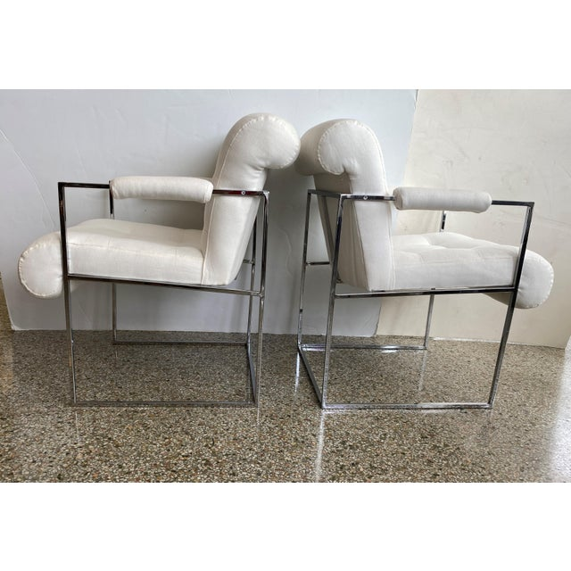 Milo Baughman Milo Baughman Thin Line Chairs in Polished Chrome - a Pair For Sale - Image 4 of 13