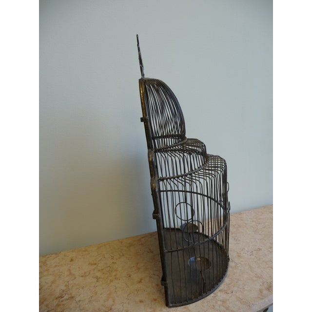 Large European Style Brass Bird Cage - Tabletop or Hangs Flat - Image 3 of 8