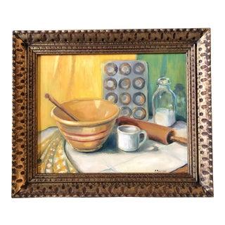 Original Vintage Still Life Painting Framed Signed For Sale