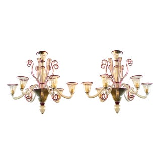 Chic Pair of Murano Gold-Aventurine 6-Light Chandeliers With Ruby-Red Edging For Sale