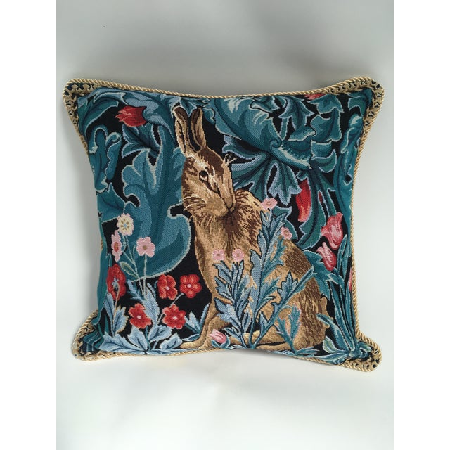 William Morris Rabbit Pillow Cover For Sale - Image 4 of 4