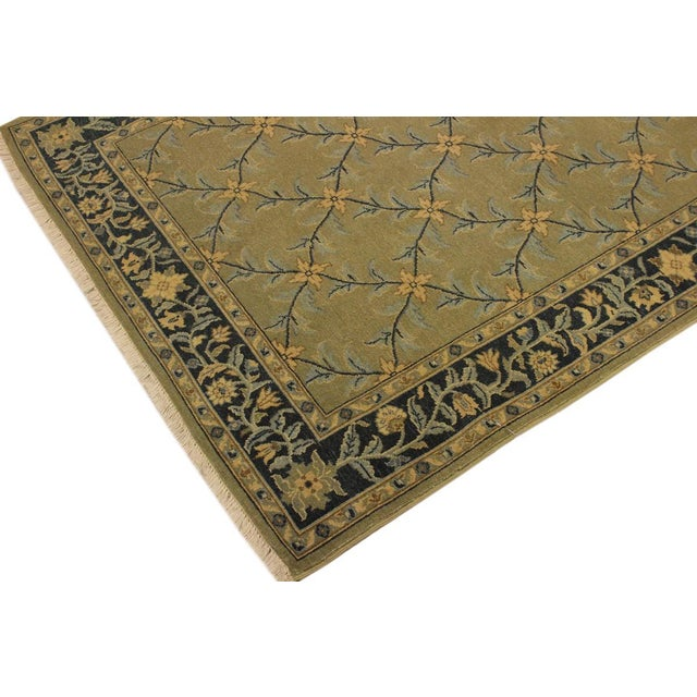 Shabby Chic Semi Antique Istanbul Hortenci Lt. Green/Charcoal Turkish Hand-Knotted Rug -4'2 X 6'0 For Sale - Image 3 of 8