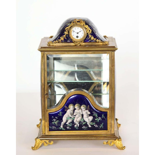 French Bronze and Limoges Enamel Jewelry Vitrine Cabinet with Clock For Sale - Image 11 of 13