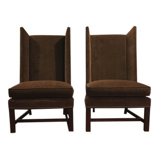 Hickory Wingback Chairs With Nailhead Trim - A Pair For Sale