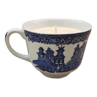 Vintage 1950s Asian Ceramic Teacup Candle For Sale