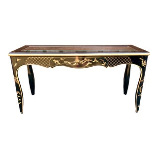 1970s Chinoiserie Beveled Glass Topped Black Lacquer Console Table