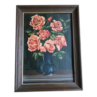 1940s Traditional Painting of Pink Roses in Vase Art For Sale