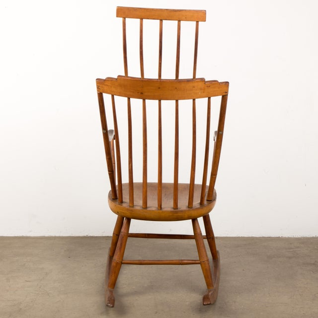 Mid 19th Century Mid 19th Century Antique American Comb-Back Windsor Rocker For Sale - Image 5 of 12