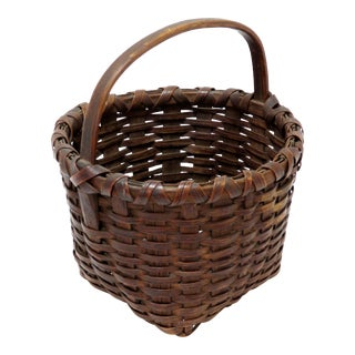 Late 19th Century Antique American Handwoven Splint Basket For Sale