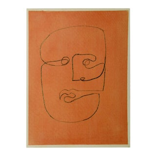 """""""Faces Volume 1 Piece 1"""" Contemporary Abstract Face Pastel Drawing For Sale"""