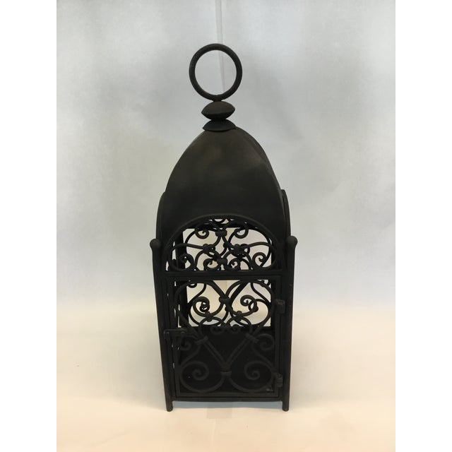 Moroccan Handcrafted Artesian Iron Garden Lantern For Sale - Image 3 of 3