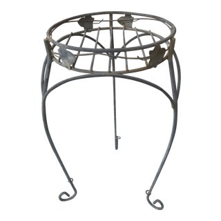 1980s Wrought Iron Plant Stand with Leaf Motif For Sale
